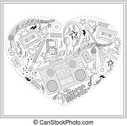 Heart from hand drawn music element
