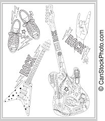 Rock music design elements set