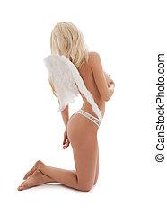 white lingerie angel girl - bright picture of white lingerie...