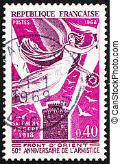 Postage stamp France 1968 Victory over White Tower of...