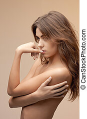 beautiful topless woman - bright picture of beautiful...