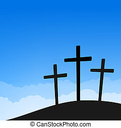 Three Crosses on Blue Sky - Easter Crucifixion silhouette on...