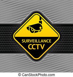Cctv symbol on a background industrial template, under...