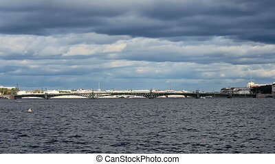 Trinity Bridge across the Neva River, timelapse