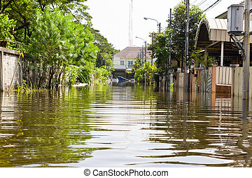Thailand water flood - Bangkok-Nov 08 : water flood village...