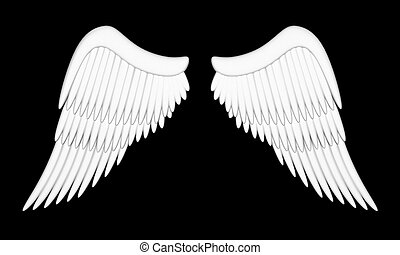 Angel wings - Illustration of wings of an angel on a black...