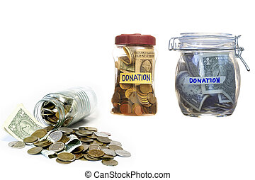 Money in closed glass jars- Donation.
