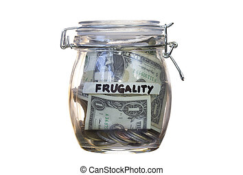 Frugality concept- jar close full of coins and dollar....