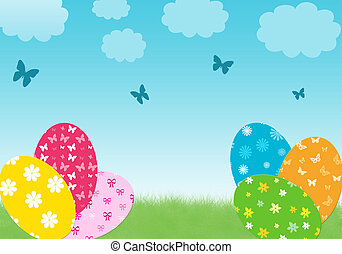 Easter day - Colorful card for easter day