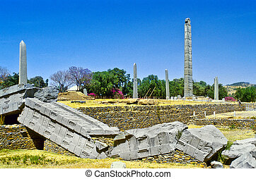 Stele, norteño, campo, Axum, etiopía