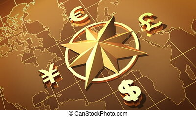 Money concept - World map with symbols of Dollar, Euro,...