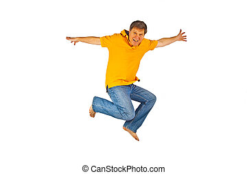 Portrait Of man jumping In The Air - Portrait Of man jumping...