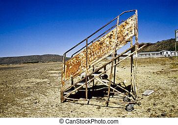 old rusty airbridge at the airport in Axum, Ethiopia,