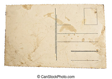 Reverse side of ancient blank postcard