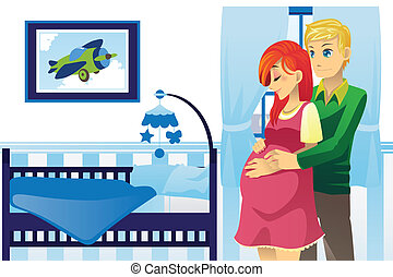 Happy pregnant couple - A vector illustration of a happy...