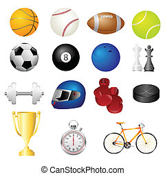 Sport items icons - A vector illustration of different sport...