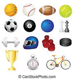 desporto, itens, ícones