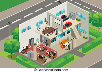 Business office - A vector illustration of an inside look of...