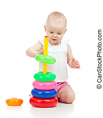 cute child playing with colorful toy isolated on white