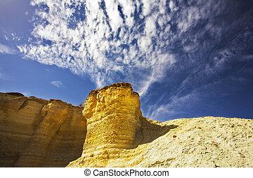 Freakish hills from sandstone in canyon En-Avdat