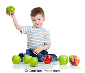 adorable child holding green apple