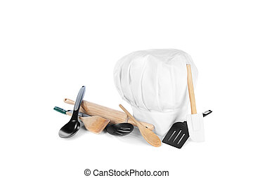 Chef's hat with cooking utensils - Chef's hat with various...