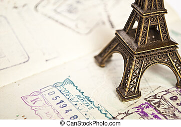Stamped passport with Eiffel passport - travel to Paris...