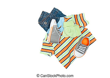 Baby clothing on white - A new set of baby clothing isolated...