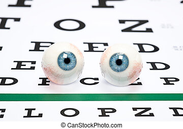 Eyeballs on chart - A pair of prosthetic eyeballs on a...