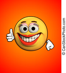Thumbs Up With Smiles - Female cartoon face indicating she...