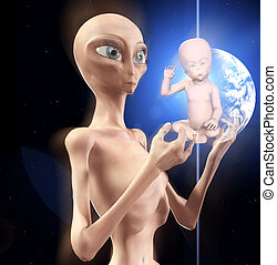 The Star Child Is Born - Concept image showing a newly born...
