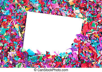 Blank invitation on confetti