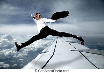 businessman in the sky