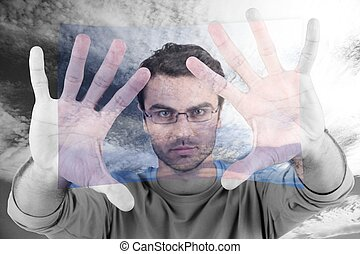 Abstract shot of man touching screen