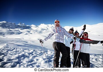 teenagers on a ski vacation