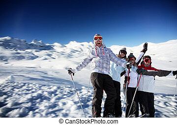 adolescentes, esqui, férias