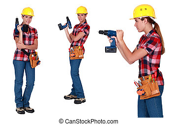 Woman using power drill