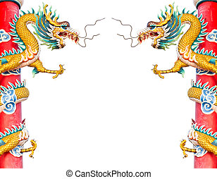 dragon statue isolated in chinese temple