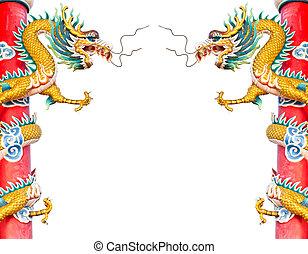 dragão, estátua, isolado, Chinês, Templo