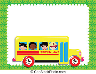go to school - illustration of school bus