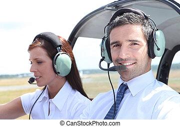 hombre, mujer, Cabina de piloto, luz, avión