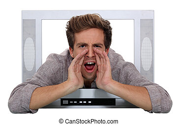 A man shouting through a TV