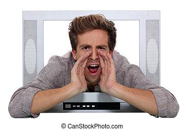 A man shouting through a TV.