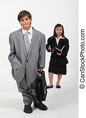 Children dressed in suits