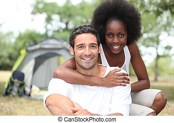couple, camping