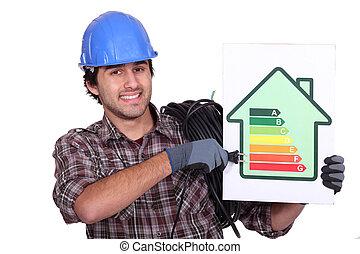 Entrepreneur showing energy consumption chart,