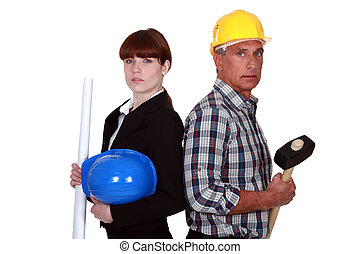 Architect and construction worker