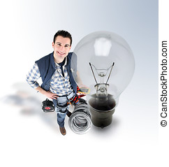 Electrician standing near giant light bulb