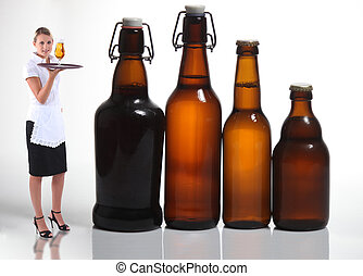 Waitress stood with beer bottles