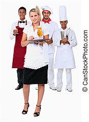 trabajando, restaurante